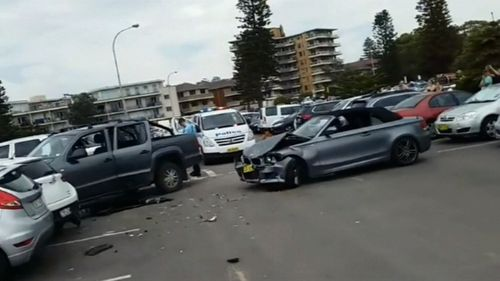 It ploughed into parked cars, injuring one driver sitting in her parked vehicle.