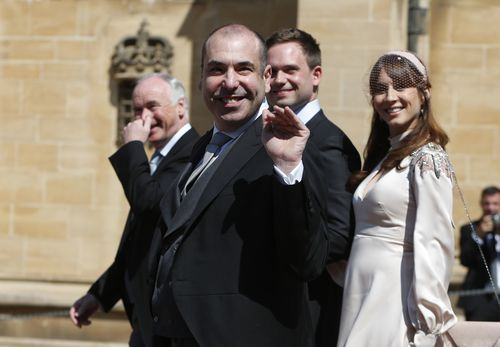 Rick Hoffman arrives for the Royal Wedding unaware that he'll cop a backlash for what happens inside. Picture: PA