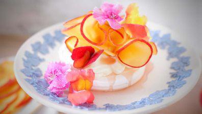 Peach, vanilla and rosewater pavlova recipe