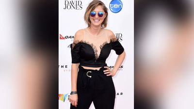 Triple J DJ Kristy Lee Peters wore her shades at the Sydney award ceremony's night of nights. (AAP)