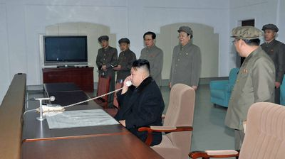 Kim Jong-Un giving the final order for the launch of the Unha-3 rocket (Getty).