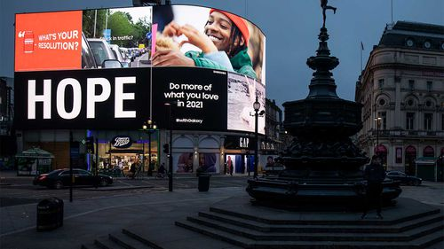 Piccadilly Circus in London is largely empty as a new strain of coronavirus ravages the country.