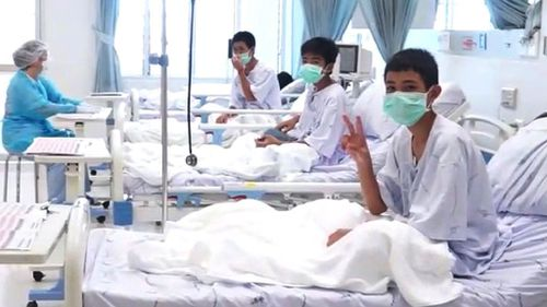 Thai boys in hospital after their rescue. Picture: Supplied