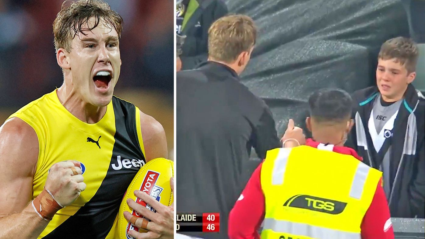 Tom Lynch's classy act consoling shattered young Power fan after Richmond defeat Port Adelaide