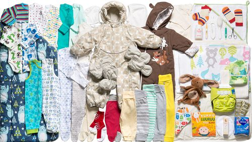 The contents of the maternity package distributed in Finland. (Kela)