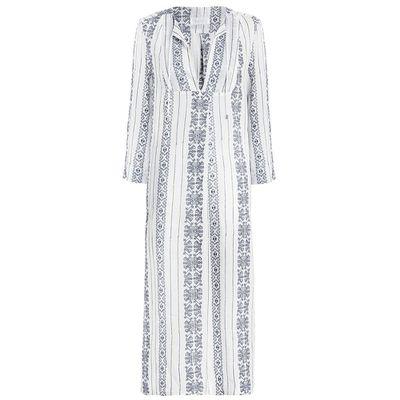 """<a href=""""http://www.zimmermannwear.com/swim-and-resort/ryker-crosshatch-dress-blue-stripe.html"""" target=""""_blank"""">Dress, $330, Zimmermann</a>"""