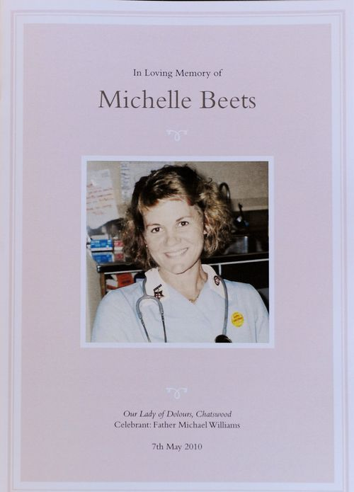 The pamphlet distributed at the funeral of Michelle Beets. (AAP)