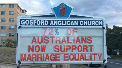Marriage equality is a repeated theme of Fr Bower's signs.