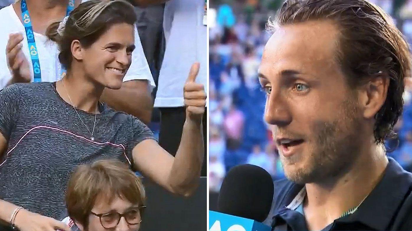 Lucas Pouille celebrates coach Amelie Mauresmo