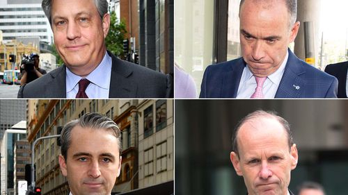 A composite file image of Westpac CEO Brian Hartzer (top left), National Australia Bank CEO Andrew Thorburn (top right), Commonwealth Bank CEO Matt Comyn (bottom left) and ANZ CEO Shayne Elliott (bottom right) leaving the Royal Commission.