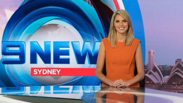 Amelia Adams in the Nine News Sydney studio