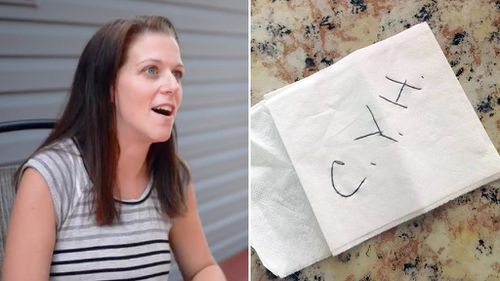 Veteran gives woman serviette note with 'three kindest letters'
