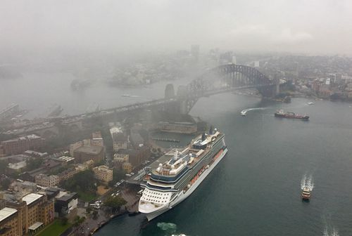 A gloomy view of Sydney Harbour this morning taken from the AMP building. Picture: Paul Hoskins