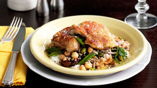 Twice-cooked chicken with grain salad and pancetta
