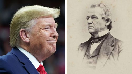 This 1860-1875 photo made available by the Library of Congress shows Andrew Johnson. Johnson, a Democrat, became vice president under Republican Abraham Lincoln on a unity ticket elected amid the Civil War in 1864. He became president after Lincoln's assassination in April 1865.