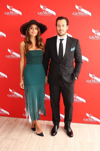Pia Miller in Dion Lee and fiance Tyson Mullane