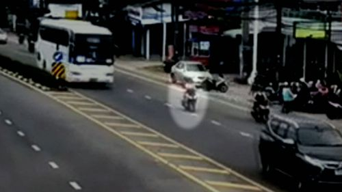 CCTV captured the moments before Ms Liddle was hit by a bus. (9NEWS)