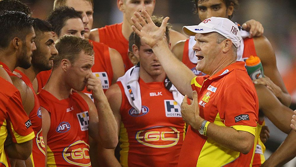 Gold Coast Suns coach Rodney Eade addresses his players. (Getty)