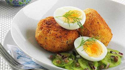 "<a href=""http://kitchen.nine.com.au/2016/05/05/14/38/smoked-trout-patties-with-soft-boiled-egg-and-cucumber-dill-and-caper-salad"" target=""_top"">Smoked trout patties with soft boiled egg and cucumber, dill and caper salad</a> recipe"
