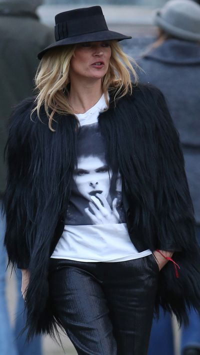 Kate Moss dons a Bowie tee in London.