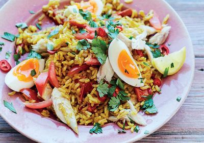 """<a href=""""http://kitchen.nine.com.au/2017/03/06/16/34/mood-boosting-kedgeree"""" target=""""_top"""">Mood-boosting omega-3 kedgeree</a><br /> <br /> <a href=""""http://kitchen.nine.com.au/2017/03/06/17/29/how-to-eat-for-happiness-recipes-for-energy-mood-anxiety-sleep-comfort"""" target=""""_top"""">More food to boost your mood</a><br />"""
