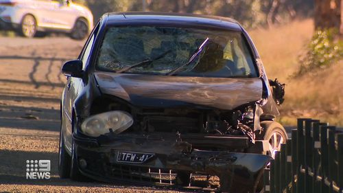 The pursuit ended when the alleged thief smashed into three unsuspecting motorists.