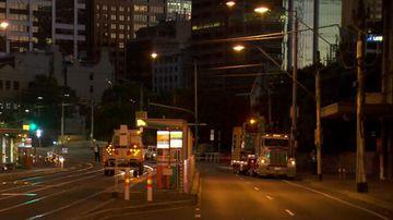 Oversized truck tears down tram lines outside Crown Casino