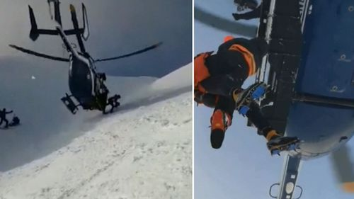 The pilot performed the manoeuvre twice - first so rescuers could attach a leg brace to the injured skier, and then to winch him to safety.
