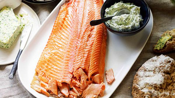 Hot-smoked trout with herb crème fraîche