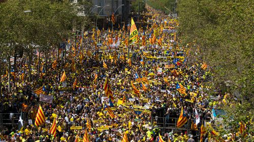 Catalonia Independence supporters march during a demonstration in Barcelona in support of jailed Catalonian politicians and Pro-Independence social movements leaders. (Getty)
