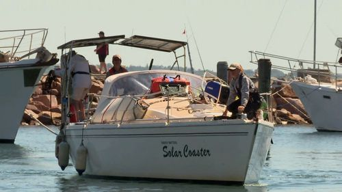 They were on board the Solasr Coaster when the mast snapped off on Monday night.