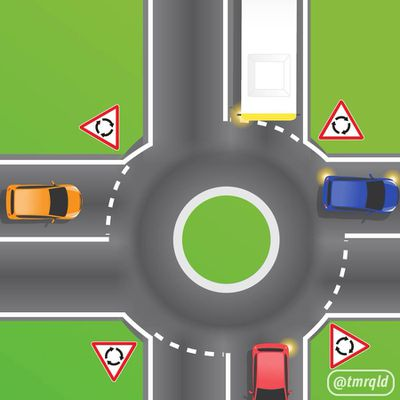 Can a bus drive over a roundabout?