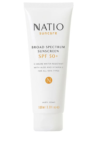 "<p><a href=""https://www.natio.com.au/broad-spectrum-sunscreen-spf-50"" target=""_blank"" title=""Natio Broad Spectrum Sunscreen SPF 50 +, $11.95"">Natio Broad Spectrum Sunscreen SPF 50 +, $11.95</a></p> <p>Lather up with this broad spectrum sunscreen that comes with SPF 50 + protection. Apply on your face daily to keep your skin protected from pollution and the sun's rays.</p>"