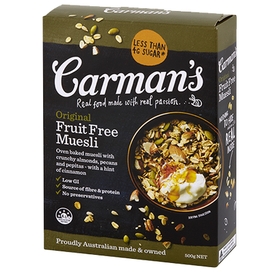 <strong>Carman's Original Fruit-Free Muesli (8.5 grams of fibre per 100 grams)</strong>