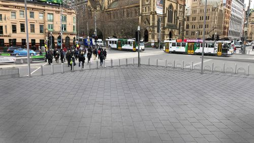A supplied image obtained on Thursday, November 8, 2018 of proposed security upgrades for Flinders Street Station in Melbourne, Victoria. Work on more than 50 permanent bollards.