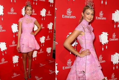 US <i>Sports Illustrated</i> model Gigi Hadid brings a princess cupcake feel to the Emirates marquee.<br/><br/>Image: Getty