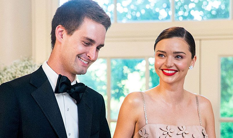 Snapchat CEO Evan Spiegel and Miranda Kerr arrive for a state dinner for Nordic leaders at the White House in Washington in May. (AAP)