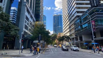 A near deserted Brisbane CBD pictured during the pandemic.