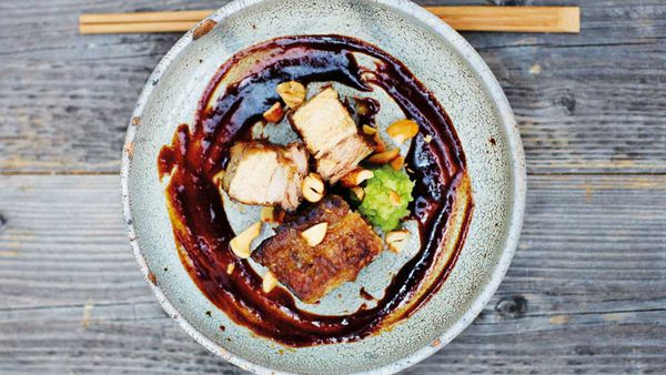 Slow-cooked barbecued red miso pork belly