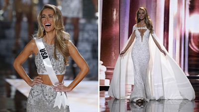 Miss USA 2015, Olivia Jordan, finding out she had made the final 15 contestants, and competing in the evening gown competition. (AAP/Getty)