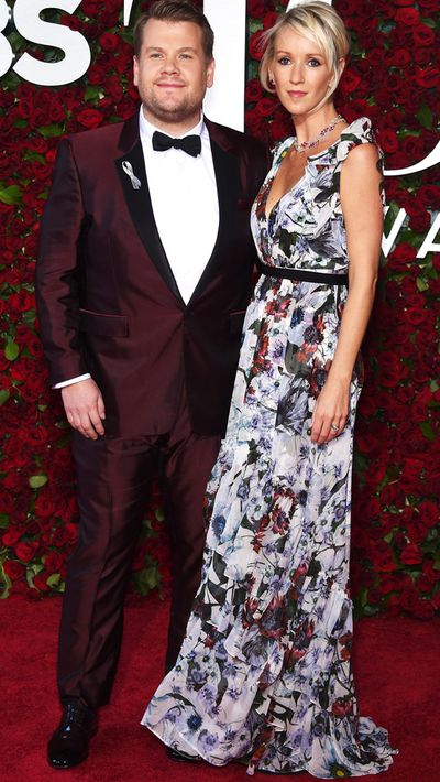 Tonys host James Corden and his wife Julia Carey