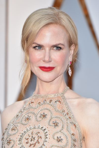 Our Nicole Kidman went classic - porcelain skin and a bold red lip.