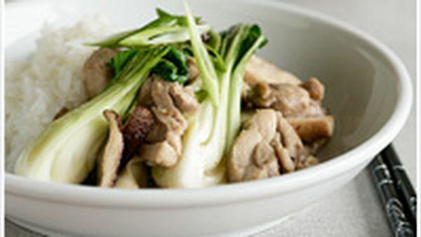 Chicken, mushroom and baby buk choy stir-fry