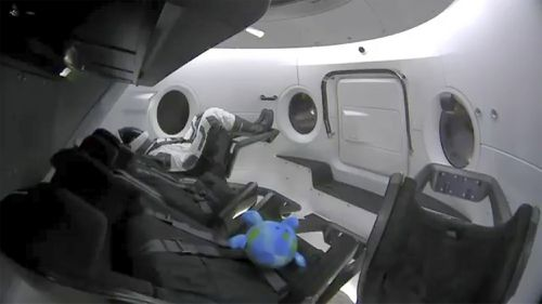 A life-size test dummy along with a toy that is floating in the Dragon capsule as the capsule made orbit on Saturday