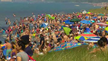 Beachgoers swarmed Indiana Dunes National Park in Porter.