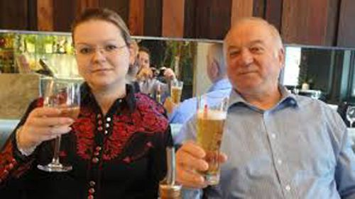 Sergei Skripal (pictured with Yuli) is no longer in a critical condition, a month on from the nerve agent attack. (Supplied)
