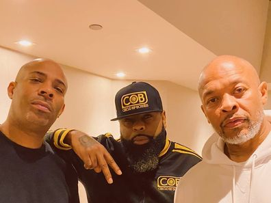 Dr Dre with DJ Silk and rapper KXNG Crooked, release diss track, estranged wife Nicole Young.
