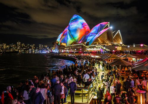 The Sydney Opera House lit up during the annual Vivid festival. Each year Sydney's Circular Quay comes to life with the world's largest interactive lighting display. It links the entire Quay precinct from the Sydney Opera House to the Sydney Harbour Bridge into one cohesive canvas of light.