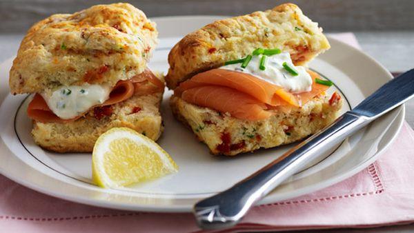 Sun-dried tomato scones with salmon and creme fraiche