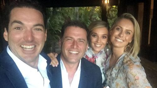 Stefanovic brothers Pete and Karl and their partners Jasmine Yarbrough and Nine News presenter Sylvia Jeffreys. (Supplied)
